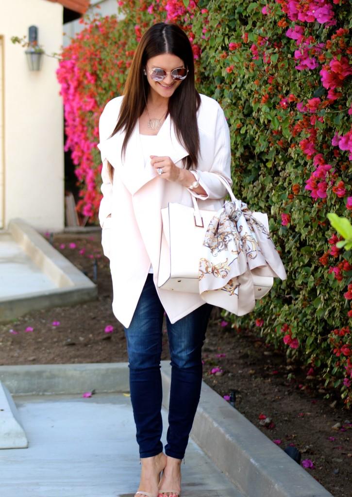 hm pink jacket, lipgloss and lace -1