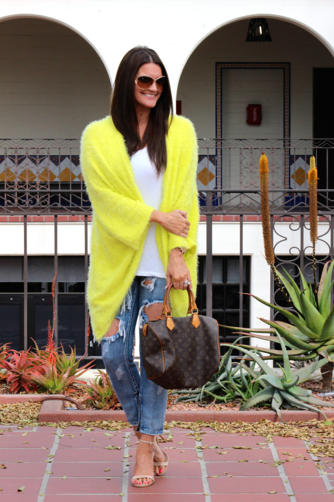 yellow sweater, free people jeans 1