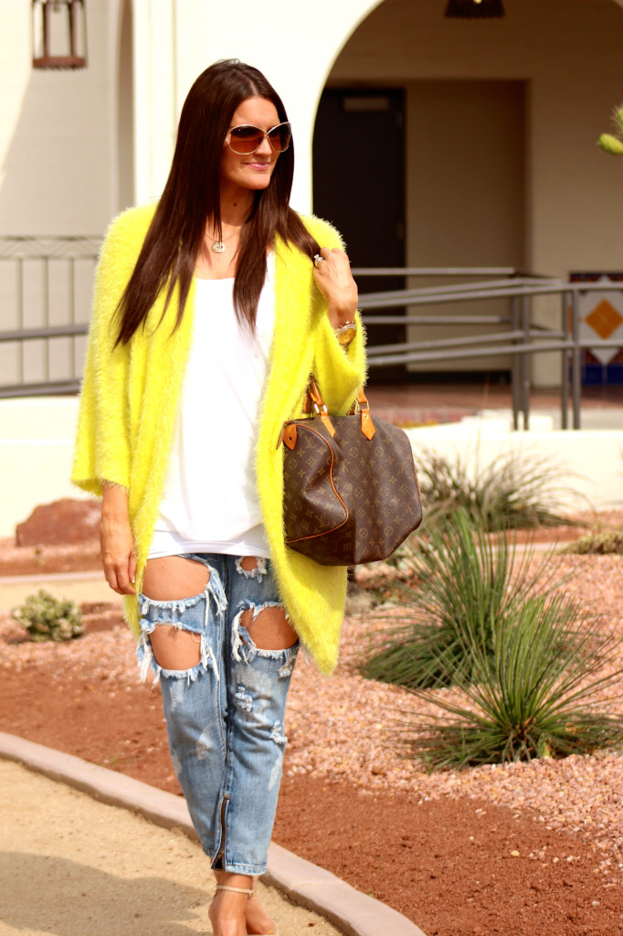 yellow sweater, free people jeans 2