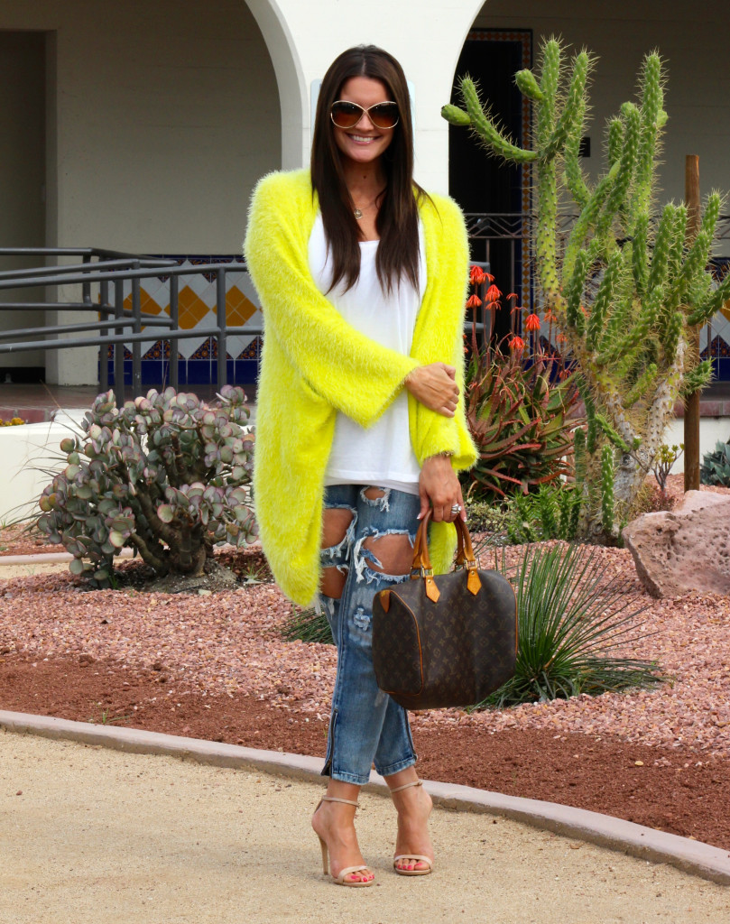 yellow sweater, free people jeans 3